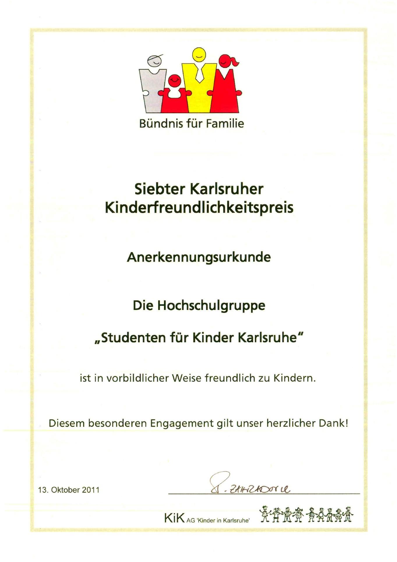 Karlsruher Kinderfreundlichkeitspreis 2011 (1/3)